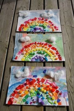 Rainbow Art Collages- great art project idea for St. Patrick's Day! Perfect for small groups, too.