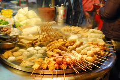 Taiwanese oden - assorted ingredients cooked in broth. Typical ingredients include white radish,  cabbage roll, kelp, tofu product, fish cake, pork ball, vegetables etc..