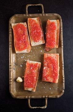 Spanish-Style Toast with Tomato (Pan Con Tomate) - basic tapas for any meal Tapas Recipes, Appetizer Recipes, Cooking Recipes, Shrimp Appetizers, Candy Recipes, Cheese Recipes, Shrimp Recipes, Recipes Dinner, Gastronomia