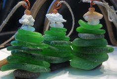 Sea glass Seaglass Christmas Tree Ornaments, window hanging, holiday decoration, sun catcher
