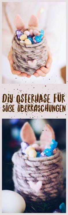 DIY Osterhasenglas als Geschenk oder Tischdeko zu Ostern. titatoni.de #werbung #diy #Ostern #osterhase #milkaostern #milka