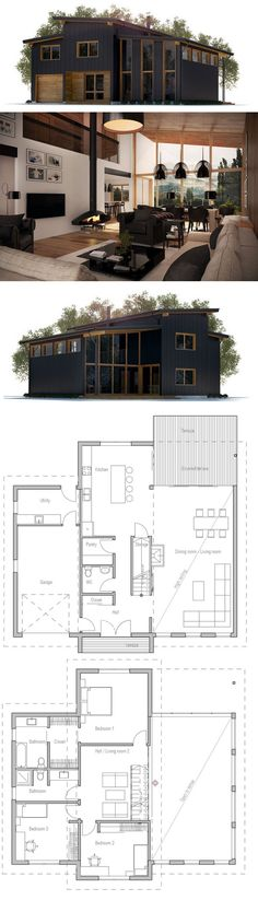 House Plan but add door from garage into kitchen also.