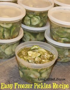 Easy Freezer Pickles Recipe; These easy, sweet and tart pickles are preserved in your freezer. Enjoy garden fresh pickles without the canning or processing with this easy freezer pickles recipe!  http://www.annsentitledlife.com/recipes/easy-freezer-pickles-recipe/