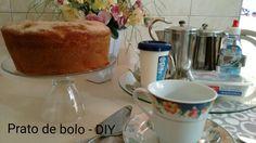 Prato para bolo transparente. Feito com uma taça e um prato raso. Fácil de fazer e fica lindo!