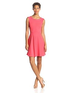 Sandra Darren Womens Cap Sleeve Fit and Flare Dress Coral 6 *** See this great product.(This is an Amazon affiliate link and I receive a commission for the sales)