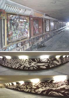 before and after, mural by swanski in underpass, ul.W.Jagiełły, Gorzów Wlkp., Poland