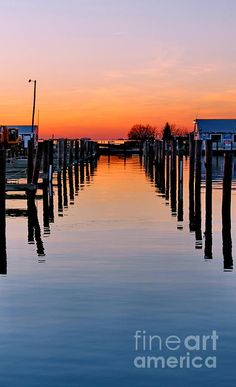 Marina Sunset from Trappe, Maryland, near Cambridge and on the Choptank RIver, by Francie Davis.