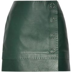 Mugler Leather wrap mini skirt (€1.855) ❤ liked on Polyvore featuring skirts, mini skirts, bottoms, saias, green mini skirt, real leather skirt, short green skirt, leather skirts and thierry mugler