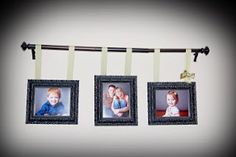 Hang Pictures from a curtain rod with ribbon