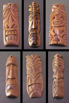 Tiki Pendants 3 by tflounder on DeviantArt Wood Carving Faces, Dremel Wood Carving, Wood Carving Designs, Wood Carving Patterns, Wood Carving Art, Bone Carving, Wood Art, Tiki Maske, Tiki Faces