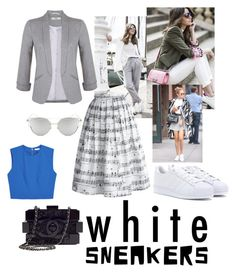 """White sneakers vibe! ✌️"" by sarahbsm on Polyvore featuring moda, Diane Von Furstenberg, Miss Selfridge, Alice + Olivia, Chanel, Chicwish, Chicnova Fashion e adidas"