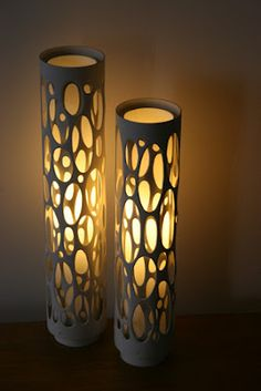 via Ashbee Design: PVC Inspiration! can light in random or patterned core holed PVC pipe. Handmade Home Decor, Diy Home Decor, Handmade Lamps, Handmade Ceramic, Eco Deco, Pvc Pipe Crafts, Pvc Projects, Deco Originale, Ideias Diy