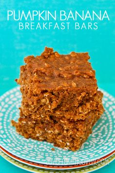 Moist And Delicious Pumpkin Banana Breakfast Bar Recipe.  The oil found in many pumpkin bread recipes is replaced with Greek yogurt and applesauce!