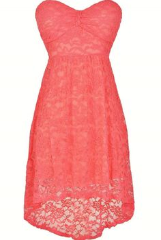 Angelica Strapless Lace High Low Dress in Coral  www.lilyboutique.com