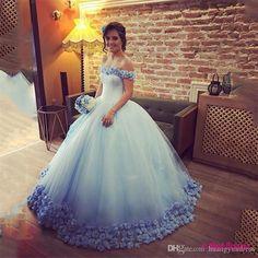 Long Floor Length ball gown quinceanera dresses Evening Dresses Flowers Glamorous Prom Dress Graduaction Dresses PD20188089