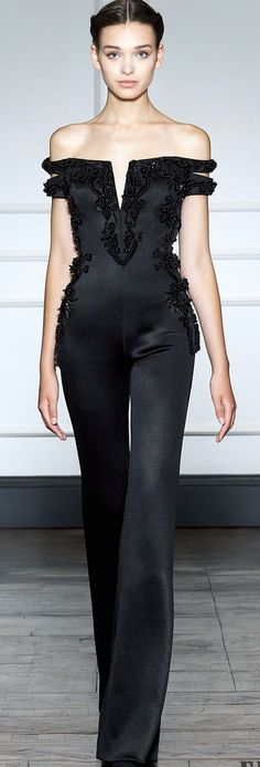 Dilek Hanif Couture FW 2014 - 2015 glamour jumpsuit in black Haute Couture Style, Couture Mode, Couture Fashion, Runway Fashion, Womens Fashion, Beauty And Fashion, Passion For Fashion, High Fashion, Fashion Shoes