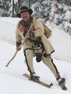 Polish Highlander - Goral, High Tatras Góral jeździ na nartach! Historical Images, Historical Clothing, Folk Costume, Costumes, Learn Polish, High Tatras, Polish Christmas, Polished Man, Polish Folk Art