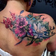 40 Colorful Upper Back Tattoos - Most Common Types Check more at http://tattoo-journal.com/40-versitle-upper-back-tattoos/