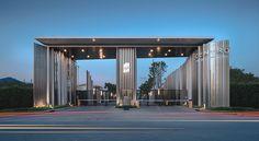 PanoramicStudio - CENTRO CHAIYAPRUEK Entrance Signage, Modern Entrance, Entrance Design, Portal, Futuristic Architecture, Facade Architecture, Interior Design Videos, Retail Facade, Guard House