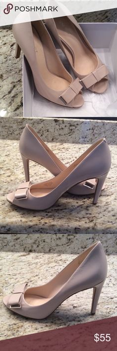 🇺🇸Worn Once!  Nine West heels, sz 9, in box Gorgeous Nine West heels, worn once.  I forgot to take a pic of the soles, I will add later today.  Heel is four inches.  Gorgeous bone color. Nine West Shoes Heels
