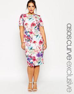 Image 1 ofASOS CURVE Bright Floral Print Scuba Bodycon Dress