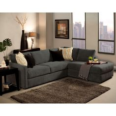 3piece modern grey microfiber reversible sectional sofa with large ottoman sectional sofa ottomans and modern