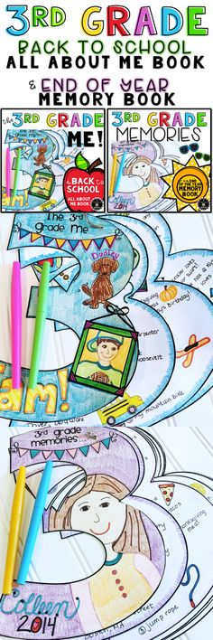 All About Me Activity and End of Year Memory Book Bundle Get To Know You Activities, All About Me Activities, Back To School Activities, 3rd Grade Writing, 3rd Grade Reading, Third Grade Math, Teacher Page, Teacher Helper, Teaching Resources