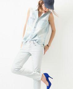 Madewell Denim: Skinny Skinny Jean in Sunfade; chambray workbench top in sunfade;  mira heel in noble blue