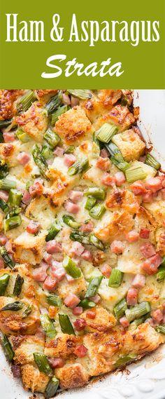 Ham and Asparagus Strata recipe from @simplyrecipes