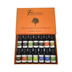 14 Piece 100 Pure Essential Aromatherapy Oils Gift Set by Pursonic Aroma Diffuser, Essential Oil Diffuser, Therapeutic Grade Essential Oils, Aromatherapy Oils, Pure Essential, Tea Tree, Natural Oils, Essentials, Pure Products