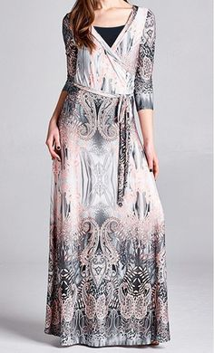 Modest and trendy mixed paisley print mock wrap maxi dresses with matching ribbon belt