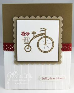 Moving Forward Card--uses Stampin' Up! Ronald McDonald House Charities Moving Forward stamp set with crumb cake ink and cardstock, soft suede cardstock and cherry cobbler ribbon