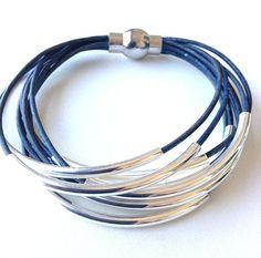 Denim Natural Blue Leather Cuff #Bracelet with by wrapsbyrenzel