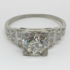Platinum Art Deco Diamond Solitaire by fdmestatebuyers on Etsy Art Deco Jewelry, Unique Jewelry, Art Deco Wedding Rings, Art Deco Diamond, Art Deco Design, Geometric Designs, Accent Colors, Vintage Rings, Diamond Cuts