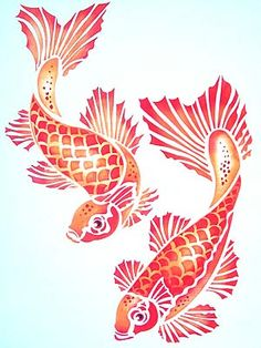 Above - The Koi Carp motifs stencilled in Pineapple, Seville Orange and Very ...    hennydonovanmotif.co.uk