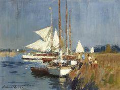 """Edward Seago """"Yachts on the River Ant"""" Watercolor Landscape, Landscape Art, Landscape Paintings, Impressionist Paintings, Seascape Paintings, Great Paintings, Beautiful Paintings, Virtual Art, English Artists"""