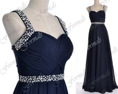 Dark Navy Prom Dresses Navy Prom Gown Straps with by Formals, $139.00