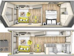 Though not originally created as a home on wheels, this design can be incorporated well.   Tiny House - Heijmans ONE - Amsterdam - Floor Plans - Humble Homes