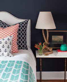 Love the mixed print cushions and rope Lamp, plus the studded bed frame is gorgeous! ~Sarah