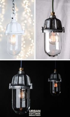 Discover the Factorylux white industrial lantern. Ingress protection rated to Use as fixed or pendant light. Unique Lighting, Vintage Lighting, Bar Lighting, Home Lighting, Lighting Ideas, Outdoor Lighting, Pendant Lighting, Ceiling Pendant, Glass Ceiling