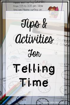 Great ideas to help your students understand telling time and elapsed time. Freebie included in the post! Fun Math Games, Math Activities, Educational Activities, Teaching Time, Teaching Ideas, Classroom Organization, Classroom Ideas, Math Classroom, Kindergarten Math