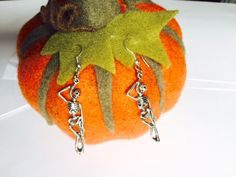 Halloween - Hanging Skeleton Earrings - Fancy Dress - Sterling Silver or Silver Plated by Makewithlovecrafts on Etsy