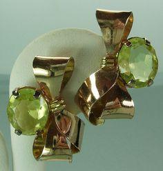 40s Retro Sterling Silver Citrine Glass Earrings Bows Rose Gold Vermeil Lemon Lime Stones Art Deco Bridal Wedding via Etsy
