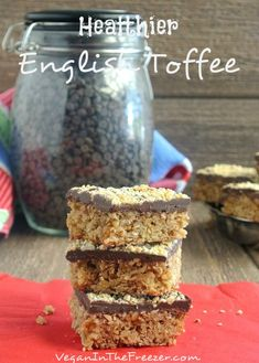 Healthier English Toffee has a thick base of chewy brown sugary oats then is topped with chocolate and nuts.