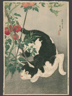 ukiyo e woodblock prints cats | ... Cat And Tomato Plant - Japanese Art Open Database - Ukiyo-e Search