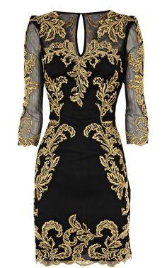 Karen Millen Baroque mesh dress black multi [DP276] - £83.94 : Karen Millen outlet UK,Karen Millen dresses outlet,karen millen dresses UK
