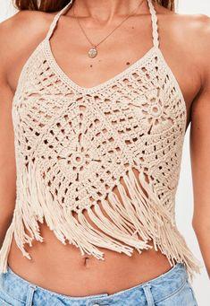 Beige Halter Neck Crochet Crop Top   Missguided
