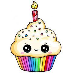 Cupcake arcoiris kawaii