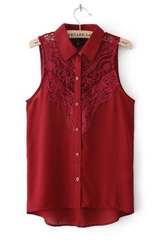 Wine Red Lace Crochet Hollow Out Front Sleeveless Chiffon Blouse