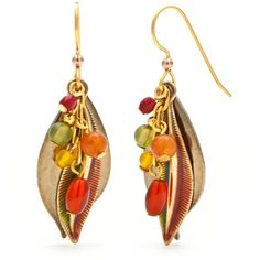 Silver Forest Multi Gold-Tone Fall Leaf Bead Cascade Drop Earrings ($22) ❤ liked on Polyvore featuring jewelry, earrings, multi, beaded earrings, hammered earrings, yellow gold earrings, gold bead earrings and gold jewelry